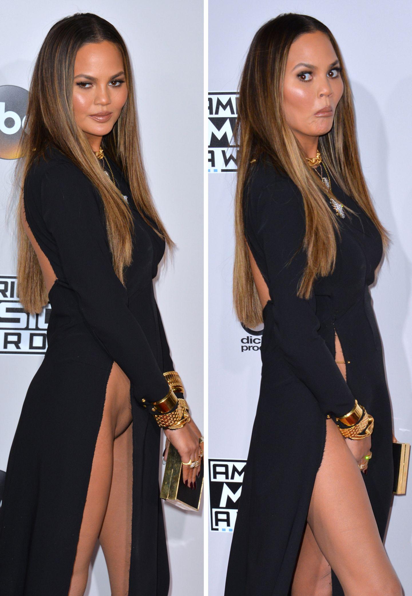 """Der wohl peinlichste Moment in Chrissy Teigens Leben: Auf dem Red Carpet der """"American Music Awards 2016"""" verrutscht ihr hochgeschlitztes Kleid und legt ihren Intimbereich frei. Jetzt weiß die ganze Welt, wie es das Model mit der Intimraus hält."""