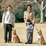 Prinz Naruhito und Prinzessin Masako unternehmen 2006 einen Spaziergang mit Töchterchen Aiko und den beiden Hunden im Palastgarten.