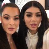 Halbschwestern beim Rumblödeln: Kim Kardashian und Kylie Jenner mit spaßigem Gesichtsklamauk.