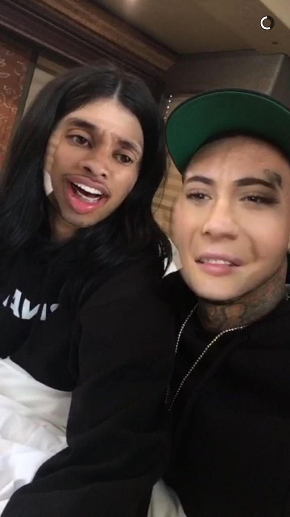 Überraschung: Rapper Tyga mit Kylie Jenners Haaren sieht gar nicht mal so übel aus.