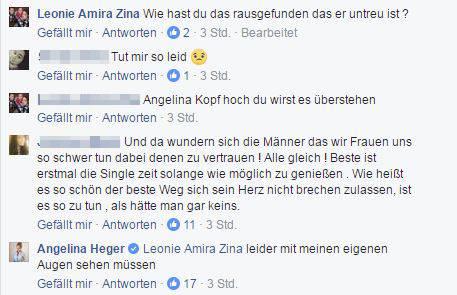 FB-Kommentar von Angelina Heger