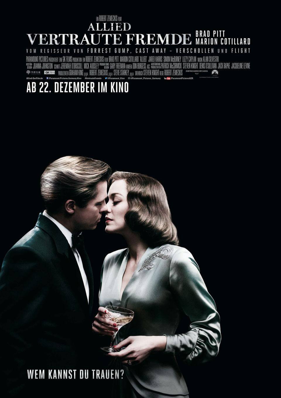 """Brad Pitt und Marion Cotillard spielen die Hauptrollen in """"Allied - Vertraute Fremde""""."""