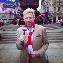 """Als """"FC Bayern""""-Fan berichtet Boris Becker im Vorfeld des Champions League Finales """"Bayern vs. Dortmund"""" in London für den Nachrichtensender CNN."""