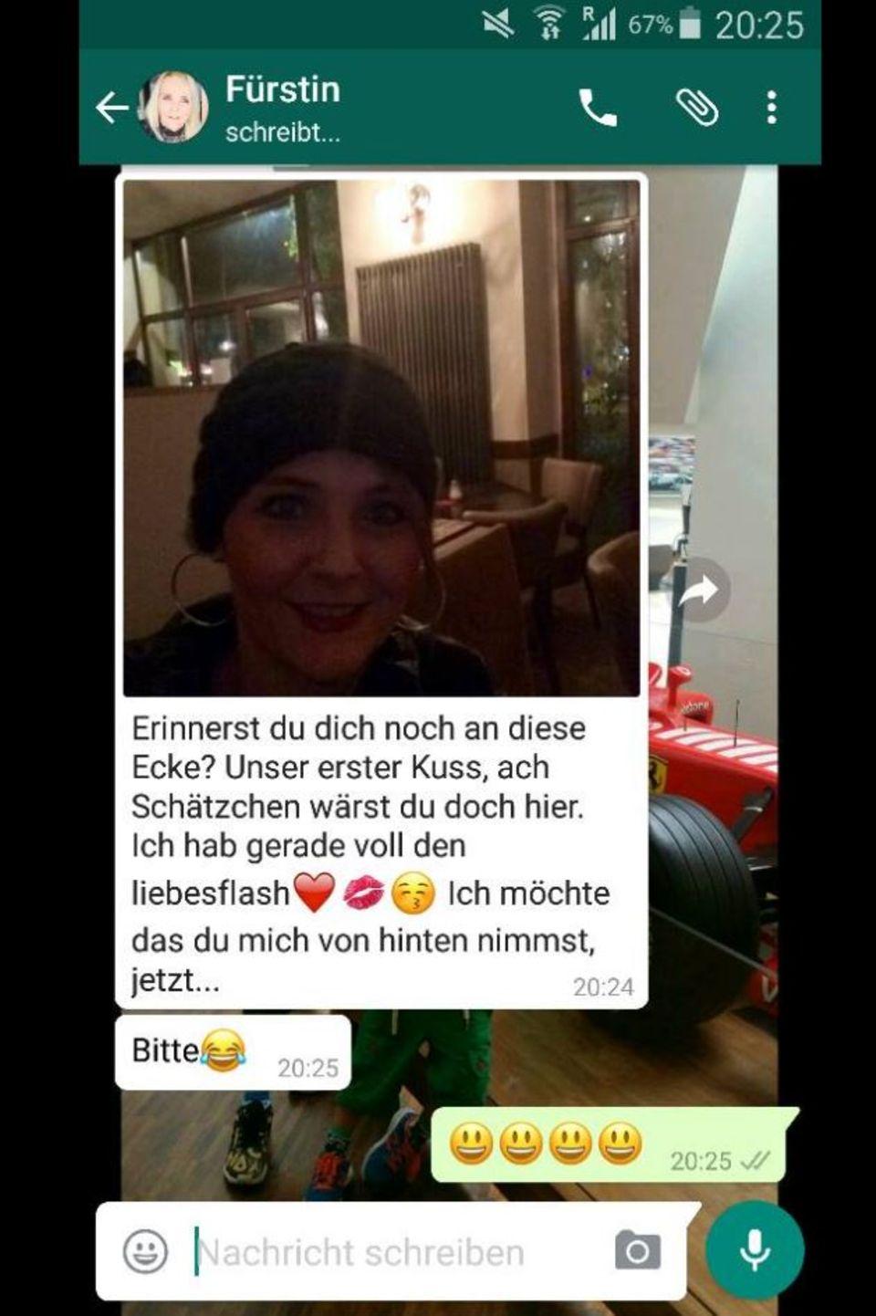 Eine WhatsApp-Nachricht von Helena Fürst an Ennesto Montè
