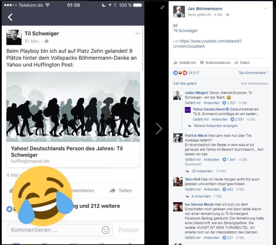 Facebook-Post von Jan Böhmermann