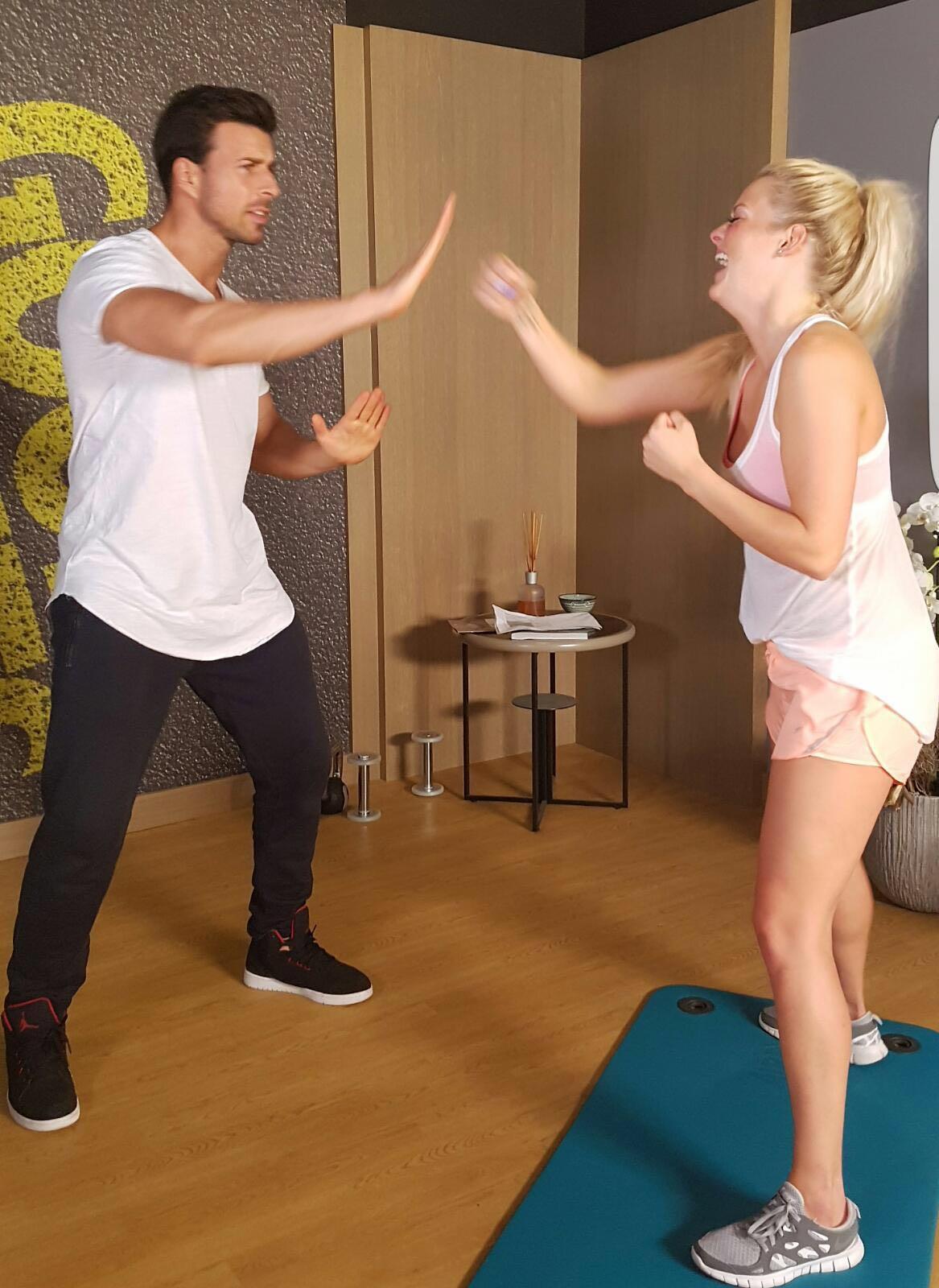 Leonard Freier und Daniela Buchholz beim Training