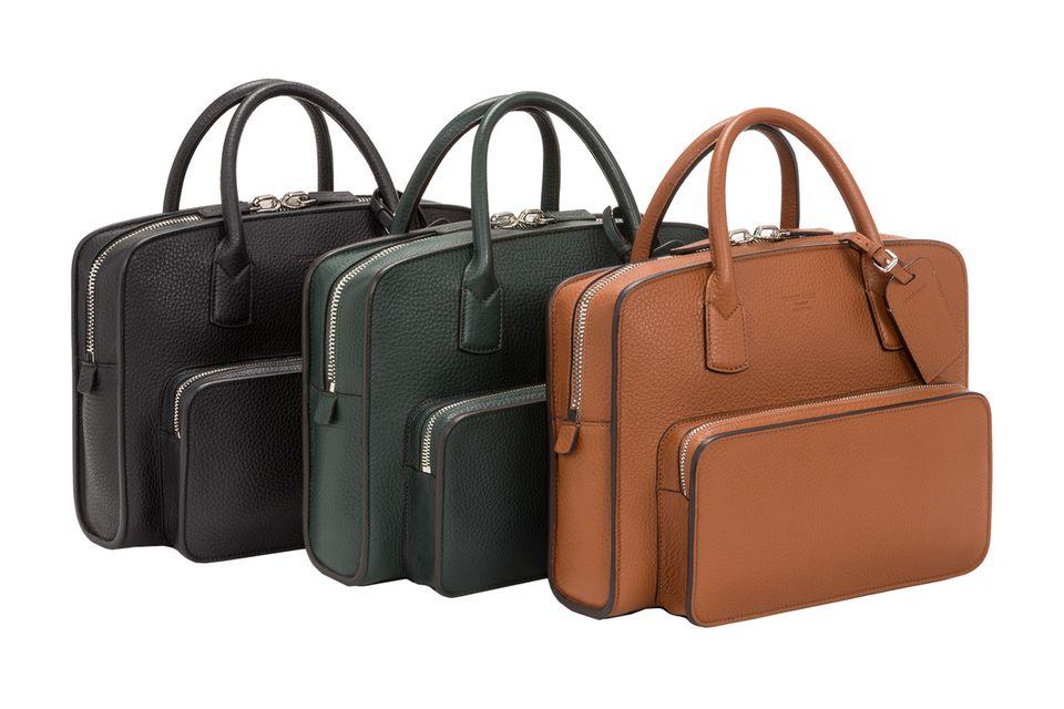 Für Business-Tage: Aktentaschen von Giorgio Armani, ca. 1.550 Euro