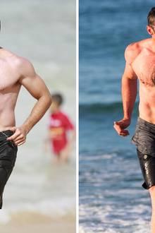 Kaum zu glauben aber zwischen diesen beiden Fotos liegen knapp 10 Jahre. Auf dem linken Bild kommt Hugh Jackman 2007 am Bondi Beach gerade aus dem Meer. Fast ein Jahrzehnt später planscht Jackman wieder einmal in seiner Heimat Australien. Mit 48 Jahren ist der Schauspieler noch genauso muskulös und durchtrainert wie mit Ende 30. Nach einem kleinen Bäuchlein sucht man hier vergeblich.