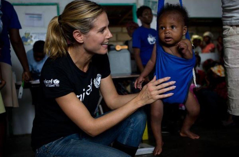 Im Auftrag der Organisation UNICEF macht Heidi Klum wieder Werbung für den guten Zweck.