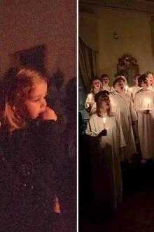 """8. Dezember 2016  Prinzessin Madeleine teilt via Facebook ein stimmungsvolles Vorweihnachtsbild. Gemeinsam mit Ehemann Chris und Töchterchen Leonore nutzte sie die Gelegenheit, bei der schwedischen Gemeinschaft in London Santa Lucia anzuschauen. """"Ein bisschen früh in diesem Jahr, aber es war dennoch wunderschön und sehr Schwedisch."""""""