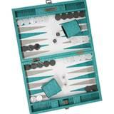 "Backgammon-Spiel ""Braided"" in Türkis, handgearbeitet, Kalbsleder (Hector Saxe, ca. 750 Euro, www.artedona.com)"
