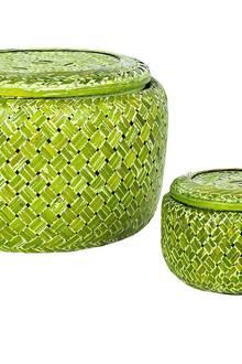 "Green Vision: Korbset ""Kenia"" aus bemaltem Bambus (Miavilla, ca. 25 Euro)"