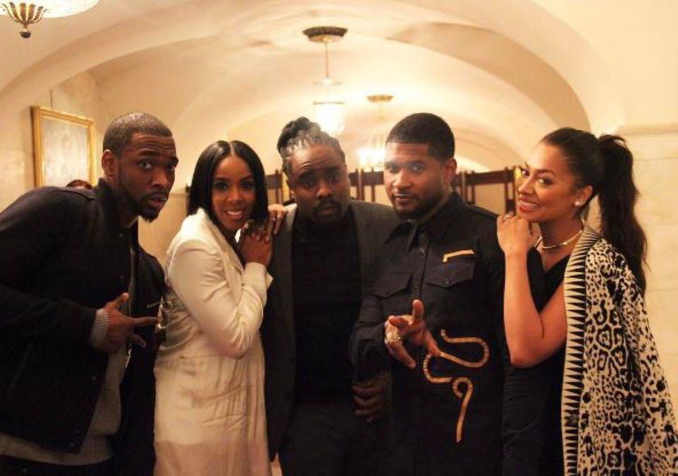 Comedian Jay Pharoah, Sängerin Kelly Rowland, die Rapper Wale und Usher sowie Musikerin La La Anthony (v. l. n. r.) sind ein unschlagbares Partyteam.
