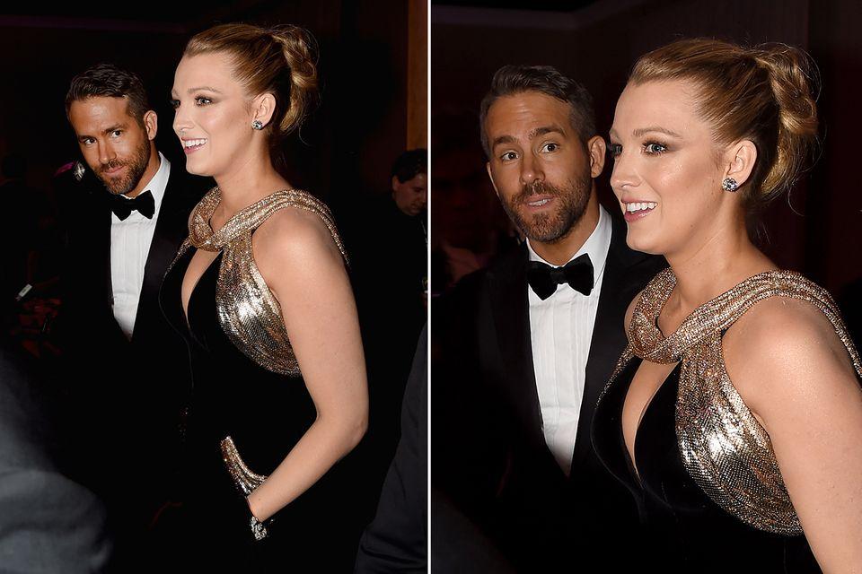 Was Blake Lively wohl gerade erzählt? Ryan Reynolds muss auf jeden Fall eine lustige Grimasse schneiden.