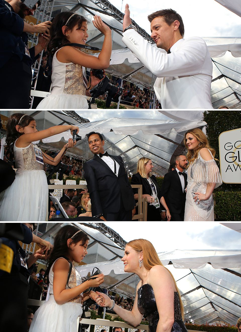 Dieser kleine Fan zieht die Aufmerksamkeit der großen Stars auf sich. Jeremy Renner, Drew Barrymore und Amy Adams posieren für das Mädchen und nehmen sich extra viel Zeit.
