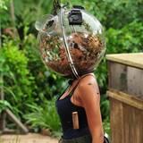 Auch Sarah Joelle Jahnel muss eine Schätzfrage beantworten, während ihr Kopf in einem Helm mit Kakerlaken steckt.
