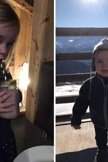 10. Januar 2017  Nach dem Ausflug in den Schnee darf sich Leonore, zwei, einen großen Kakao gönnen und der einjährige Nicolas lässt sich von den Sonnenstrahlen wärmen.