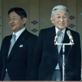 Kaiser Akihito, Kronprinz Naruhito, Kronprinzessin Masako und Kaiserin Michiko