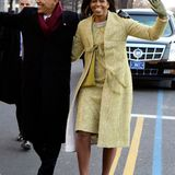 Beim Inauguration Day am 20. Januar 2009 überstrahlte die neue First Michelle Obama im blassgelben, glamourösen Retro-Ensemble alle.