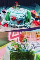 """Lang hat die Zubereitung gedauert, aber es hat sich gelohnt: Jana Ina Zarrella zauberte diese wunderschöne Torte in Anlehnung an """"Arielle, die Meerjungfrau"""". """"Happy Birthday, meine Arielle!"""" - postete die Vorzeigemama."""