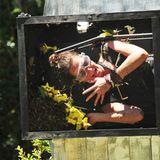 """Tag 6     Nicole Mieth muss zu ihrer ersten Dschungelprüfung. Sie wird in einen senkrecht stehenden Kasten auf einem Windmühlenflügel befestigt. Der Kasten wird mit Krabbeltieren und mit zwölf - von den Ziffern eins bis zwölf -nummerierten Sternen gefüllt. Dann beginnt sich """"Die Zwickmühle"""" zu drehen."""