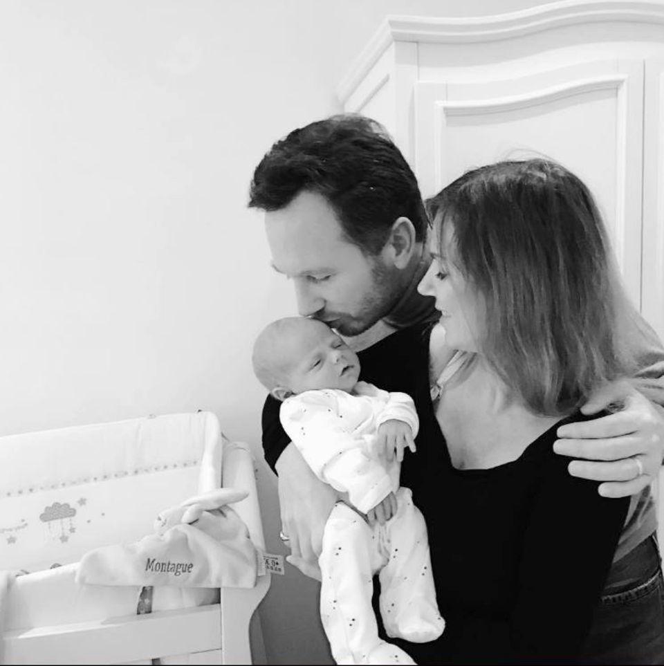 Februar 2017  Monty ist da! Erst zwei Wochen alt ist der Nachwuchs von Geri Halliwell und ihrem Mann Christian Horner und hört auf den Namen Montague.