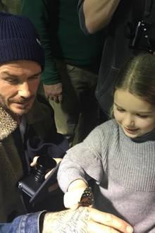 """12. Februar 2017  David Beckham und seine Tochter Harper sind von dem Schmetterlingsraum im """"Natural History Museum"""" begeistert."""