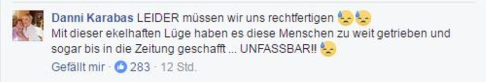 FB-Kommentar von Daniela Karabas