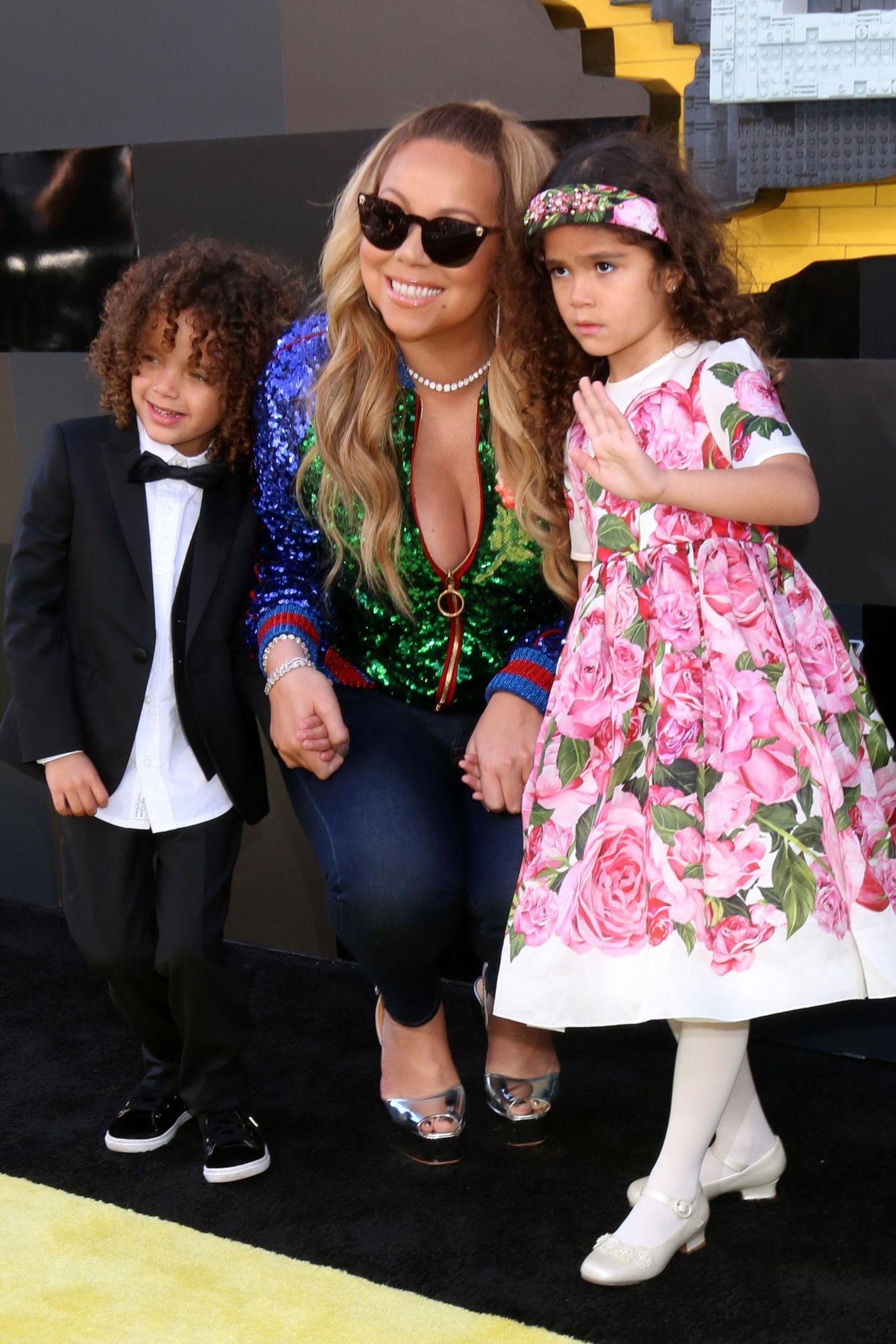 Pop-Diva Mariah Carey mit ihren Zwillingen Moroccan und Monroe.