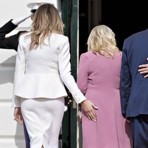 Melania Trump,Sara Netanyahu, Benjamin Netanyahu und Donald Trump beim Empfang im Weißen Haus am 15. Februar 2017