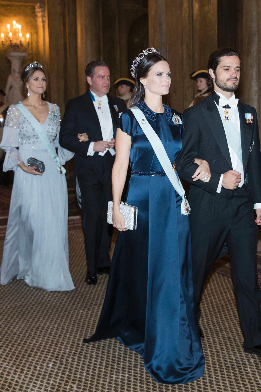 Prinzessin Madeleine und Prinzessin Sofia besuchen mit ihren Ehemännern Chris O'Neill und Prinz Carl Philip das Staatsbankett