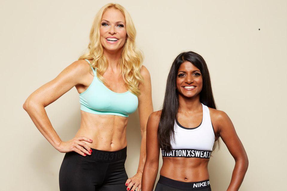 """Sonya Kraus, der Sportmuffel, und ihr Coach Julia Klopp, der """"Fitness-Flummi, bilden gemeinsam ein perfektes Team."""
