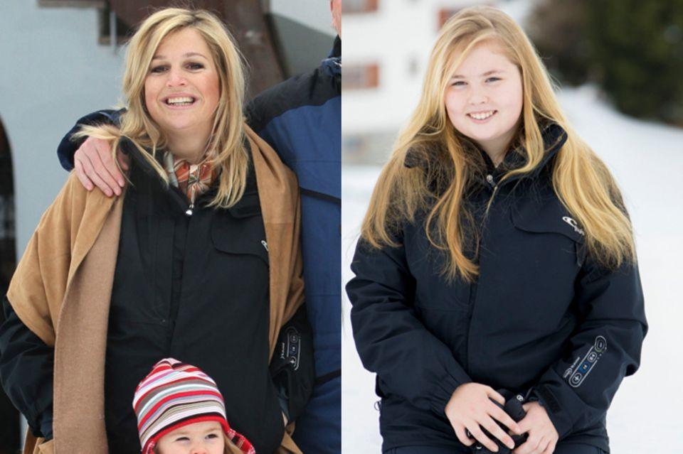 2007 trug Königin Máxima die schwarze Jacke des Labels O'Neill, zehn Jahre später zeigt sich Tochter Amalia in dem gleichen Modell