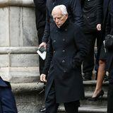 Star-Designer Giorgio Armani kann man die Trauer um Franca Sozzani ansehen.
