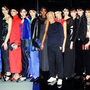 Star-Designer Giorgio Armani zeigt sich nach der Show immer gerne mit seinen schön aufgereihten Laufsteg-Models