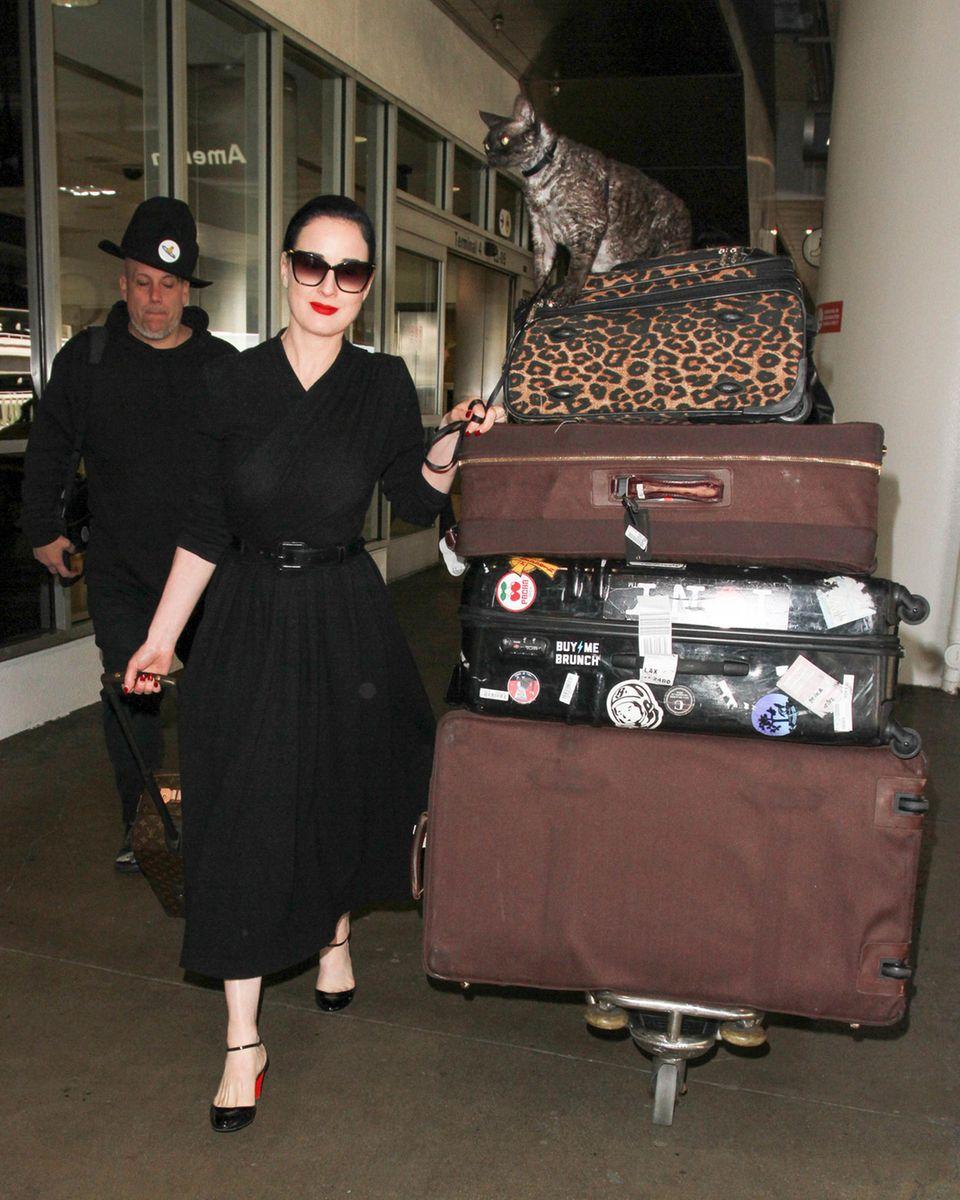 Stilvoll und mit ungewöhnlicher Begleitung wird Burlesquetänzerin Dita von Teese in Los Angeles gesichtet. Auf ihren vielen Koffern sitzt ihre KatzeAleister. Sie ist dafür bekannt, ihre Schmusekatze mitzunehmen.