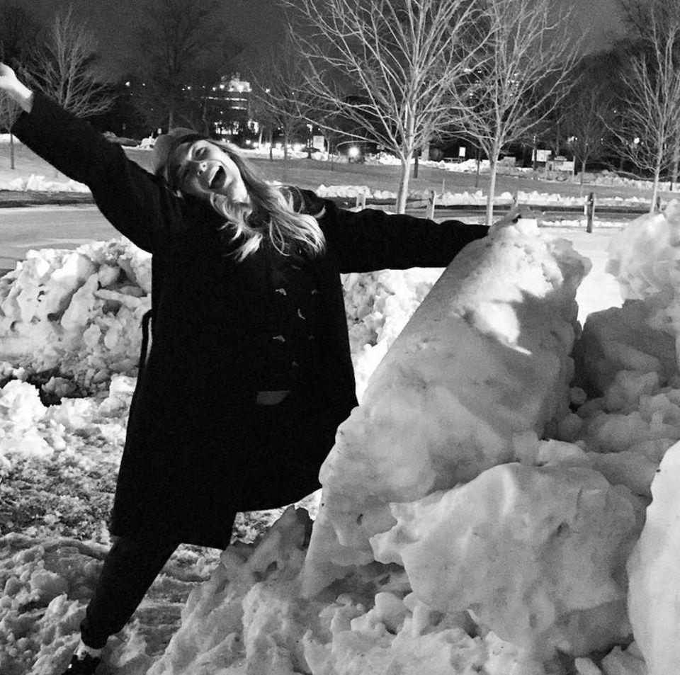 LeAnn Rimes sieht die Wetterlage positiv und freut sich über die Schneeberge in Boston.