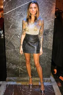 An den Füßen setzte Sophia Thomalla auf trendige Metallic High-Heels von Giuseppe Zanotti.