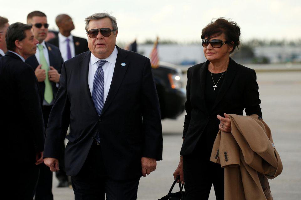 Viktor Knvas und Amalija Knavs, die Eltern von First Lady Melania Trump, am 17. März in Palm Beach