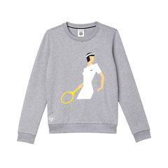 """Für die Aufwärmphase: bedruckter Sweater """"Roland Garros"""" mit Retro-Lady (Lacoste Sport, ca. 120 Euro)"""