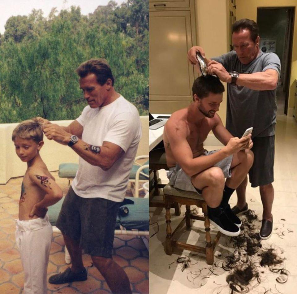 """31. März 2017  """"Manche Dinge ändern sich nie"""", postet Arnold Schwarzenegger. Der """"Terminator""""-Darsteller hat zwei Fotos aus verschiedenen Lebensabschnitten geteilt, auf denen er seinem Sohn Patrick die Haare schneidet."""