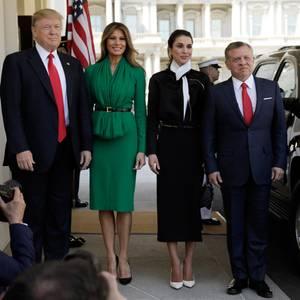 5. April 2017  Präsident Trump und First Lady Melania Trump bekommen königlichen Besuch aus Jordanien. König Abdullah und Königin Rania sind zur Gast im weißen Haus.