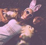 Paris Hilton wünscht mit einem Selfie mit ihren Hunden und rosa Filter fröhliche Ostern.
