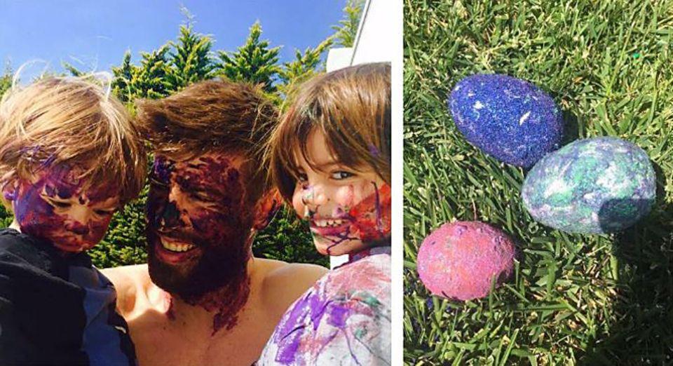 Da ist beim Eier anmalen etwas schief gegangen. Gerard Piqué und seine süßen Söhne Milan und Sasha haben tief in die Farbkiste gegriffen und großzügig das Gesicht geschmückt.
