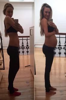 Ihren siebten Schwangerschaftsmonat sieht man Model und Moderatorin Alena Gerber kaum an. Auf dem Throwbackfoto, das sie im 5. Monat zeigt (links), sieht man von der nunmehr wachsenden Babykugel noch überhaupt nicht.