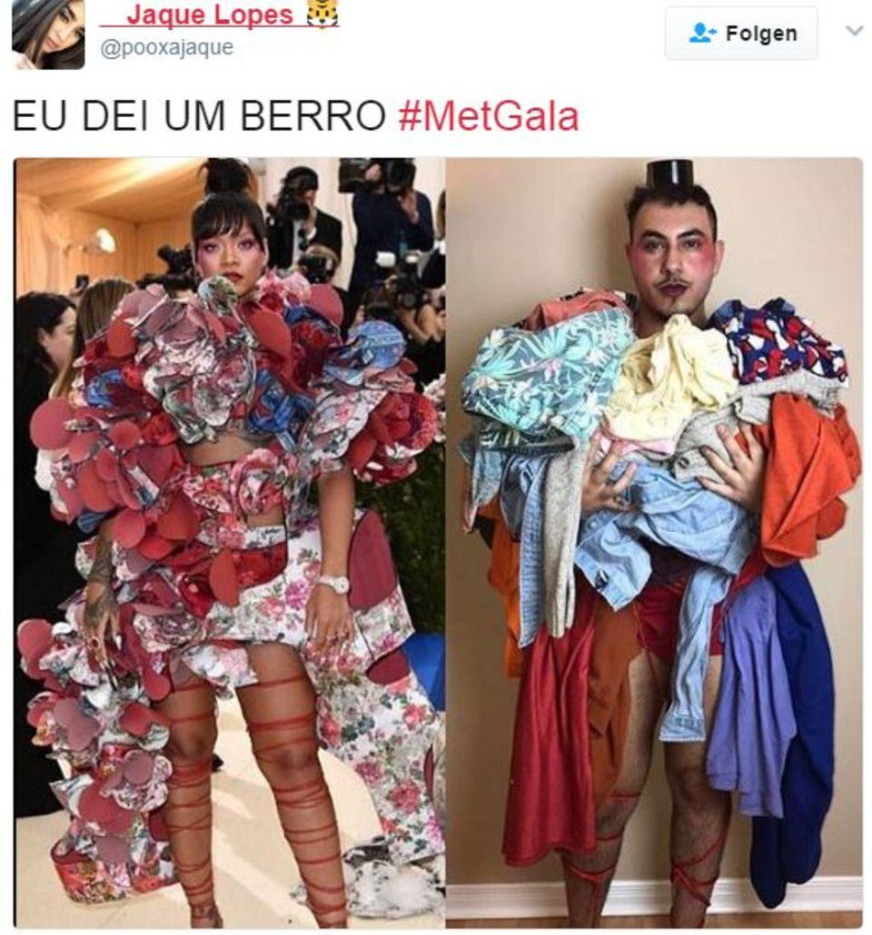 Links: Rihanna bei der Met Gala 2017 - Rechts:Fan