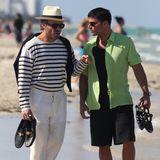 """8. Mai 2017  Beim Dreh zusammen mit Edgar Ramirez ist Ricky Martin kaum wieder zu erkennen. Für seine Rolle in """"American Crime Story"""" hat er seinen Look ziemlich verändert."""