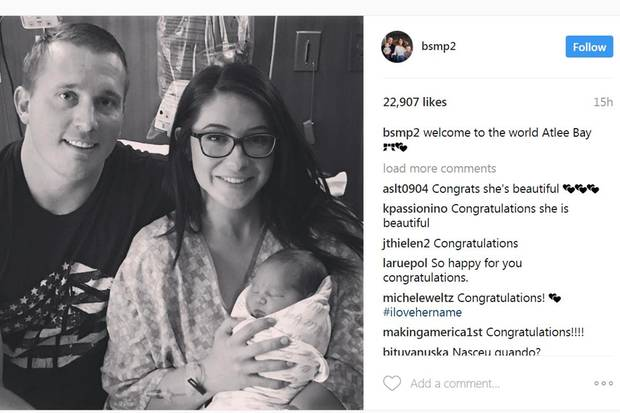 Dakota Meyer und Politikerinnen-Tochter Bristol Palin sind jetzt Eltern einer Tochter namens Atlee Bay.