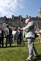 Prinz Charles' Schlagtechnik beim Hurling sieht vielversprechend aus. Aber die irische Sportart keltischen Ursprungs gilt als extrem schnell. Ob das für einen 68-Jährigen im Anzug das Richtige wäre?