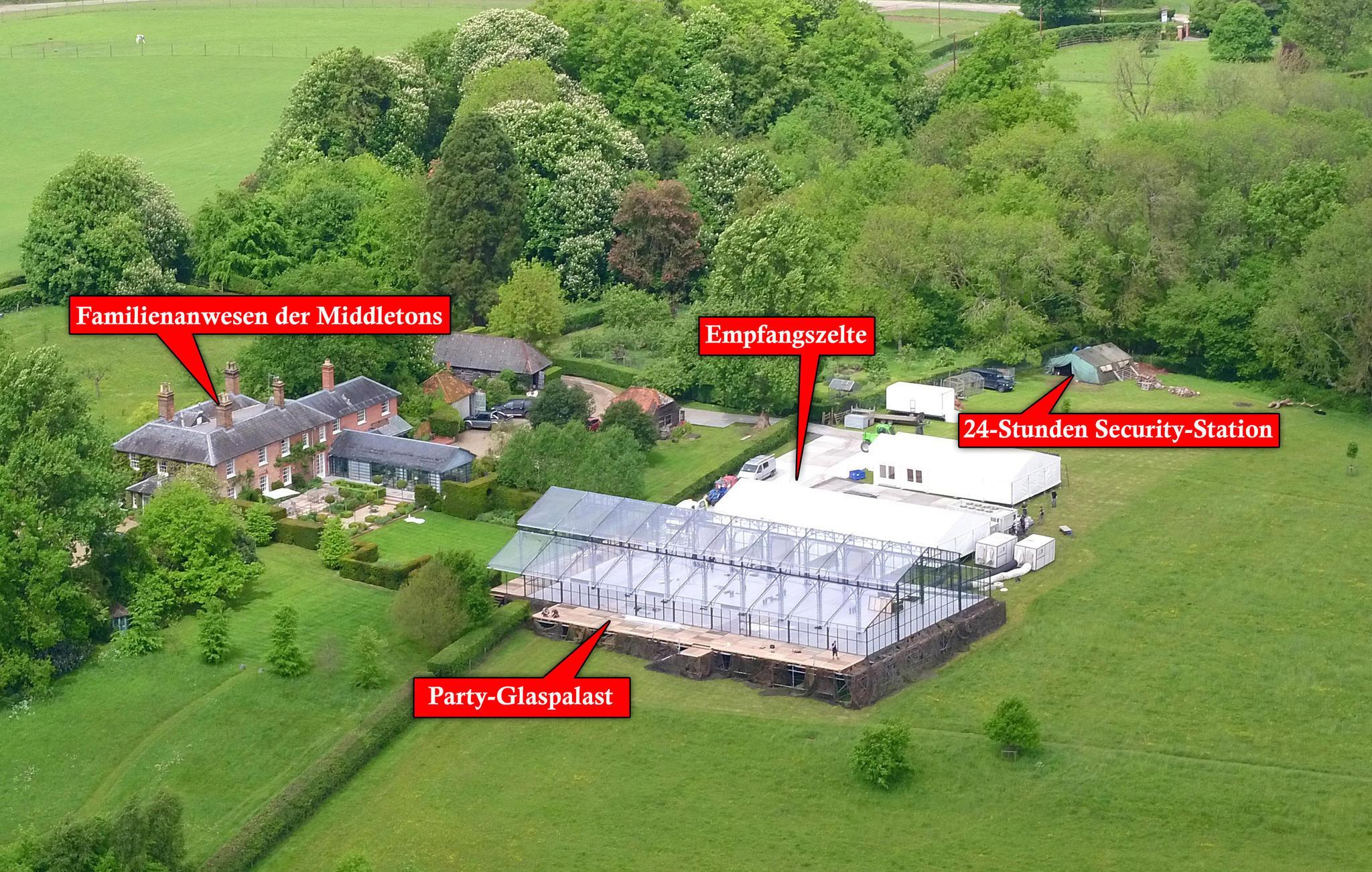 Eine Übersicht über die Feier-Location von Pippas Hochzeit